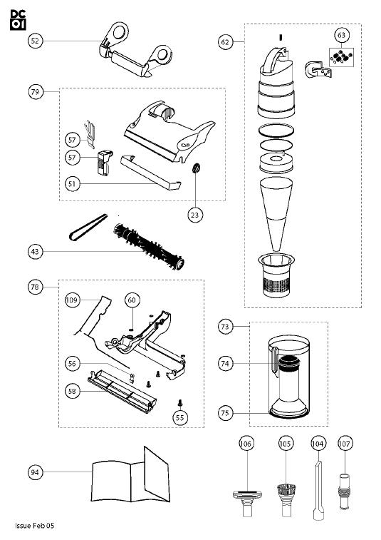 dyson dc01 das  grey  blue  vacuum cleaner parts
