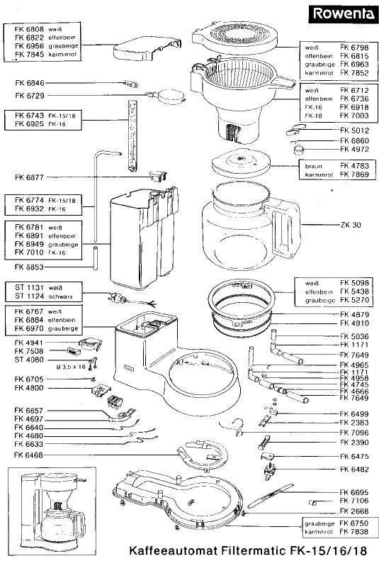 Rowenta FK18 Filtermatic Small Appliance Spares  BuySpares