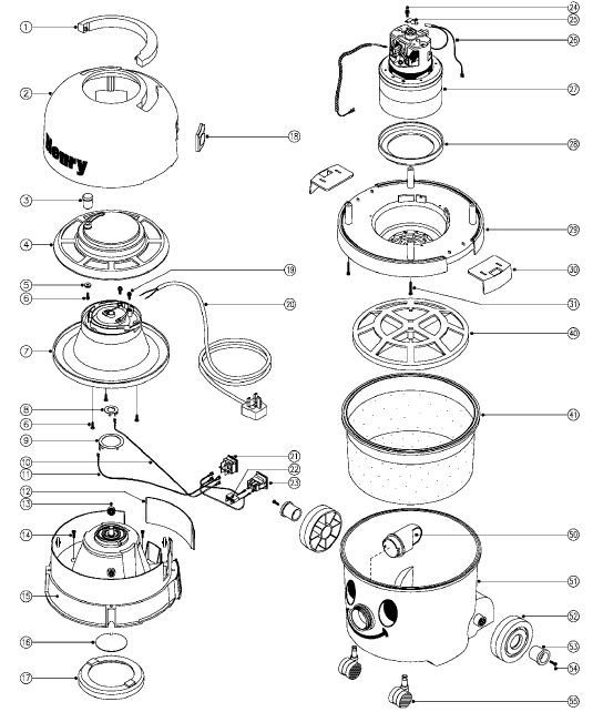 1%29_service_%28hvr200%29 vacuum cleaner spares , vaccum spares , vaccum cleaner parts henry vacuum wiring diagram at fashall.co